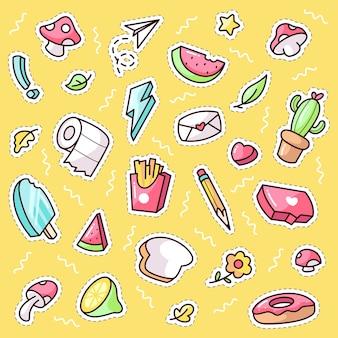 Śliczne rzeczy do naklejek lub łatek dekoracji kreskówka zestaw ikon