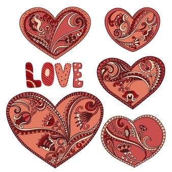 Śliczne serca kwiatowy zestaw do projektowania ślubu i walentynki.