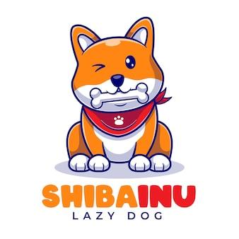 Śliczne shiba inu jedzą kości kreskówka maskotka szablon logo