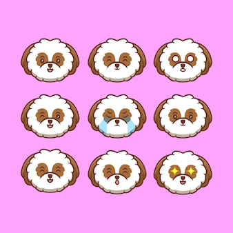 Śliczne shih-tzu puppy heads collection z różnym wyrażeniem ikona kreskówka ilustracja