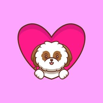 Śliczne shih-tzu puppy popup z serca i macha łapami kreskówka ikona ilustracja
