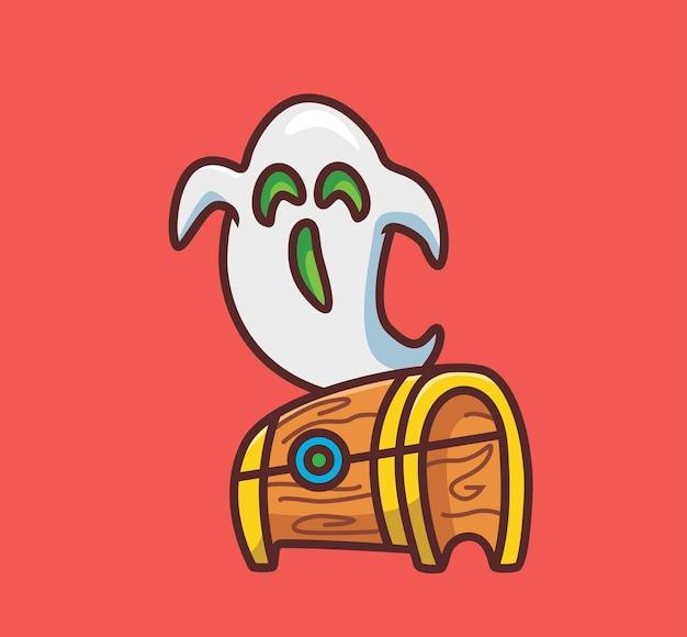 Śliczne skarby trzymane przez ducha. koncepcja zdarzenia halloween kreskówka na białym tle ilustracja. płaski styl nadaje się do naklejki icon design premium logo vector. postać maskotki