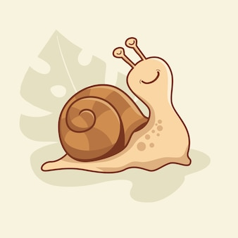Śliczne ślimak cartoon escargot animal snail slug kawaii