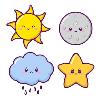 Śliczne słońce księżyc chmura i gwiazda
