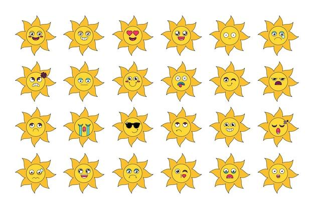 Śliczne słońce naklejki zarys zestaw ilustracji. różne emotikony kreskówek. pakiet emoji mediów społecznościowych