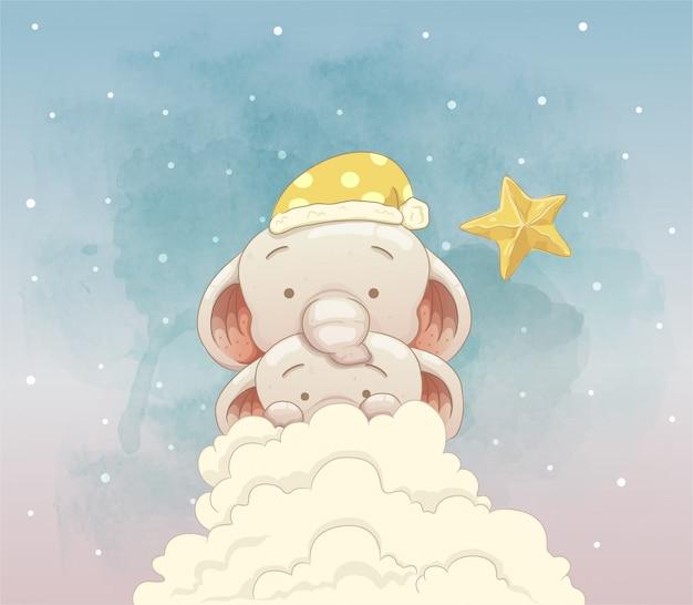 Śliczne słonie chowające się za chmurami