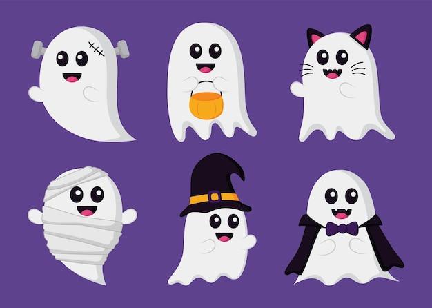 Śliczne śmieszne duchy w kostiumach na halloween na białym tle na fioletowym tle