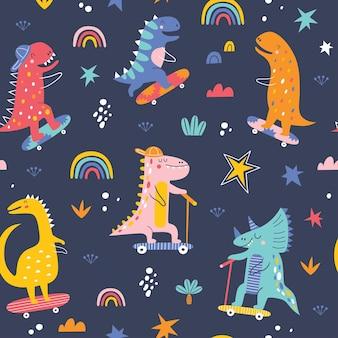 Śliczne śmieszne dzieci skater dinozaury bezszwowe wzór kolorowe tło wektor dinozaurów