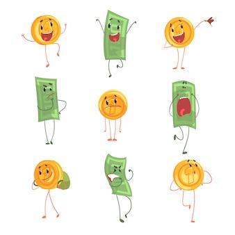 Śliczne śmieszne humanizowane banknoty i monety pokazujące różne emocje zestaw kolorowych znaków ilustracje