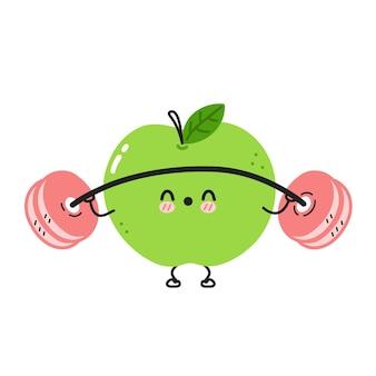 Śliczne śmieszne jabłko sprawia, że siłownia ze sztangą