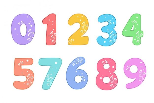 Śliczne śmieszne liczby ustawione