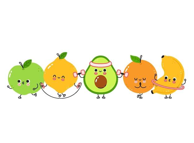 Śliczne śmieszne owoce sprawiają, że siłownia