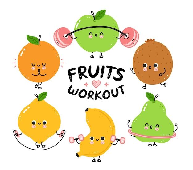 Śliczne śmieszne owoce tworzą kolekcję zestawów do ćwiczeń.