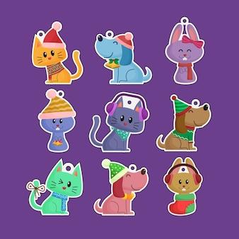 Śliczne śmieszne ręcznie rysowane świąteczne zwierzęta koty i psy naklejki etykiety kolekcji ozdoby