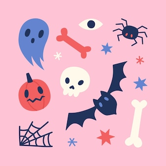 Śliczne śmieszne symbole halloween w pastelowych kolorach