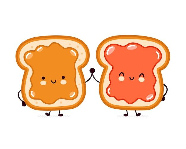 Śliczne śmieszne tosty chlebowe z masłem orzechowym i dżemem.