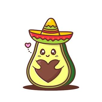 Śliczne sombrero z awokado z sercem w kształcie pestki