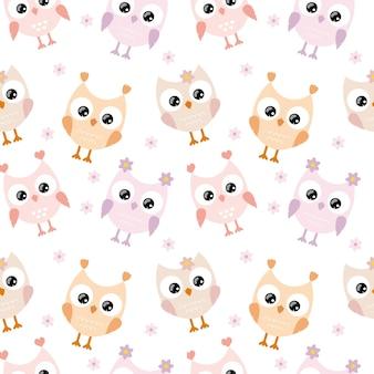Śliczne sowy z dużymi oczami na białym tle są izolowane. dziecięcy wzór na tekstylia, tkaniny, opakowania, tapety w pokoju dziecięcym. wektor kreskówka rysunek sowy dla dziecka