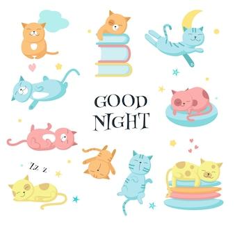 Śliczne śpiące koty wektor zestaw ikon wektorowych