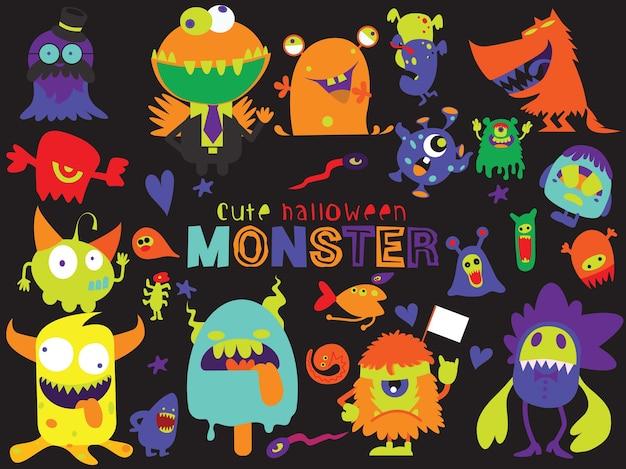 Śliczne straszne halloweenowe potwory i cukierek