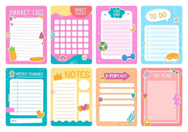 Śliczne strony planowania z naklejkami, notatnikiem lub szablonem wektora pamiętnika