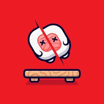 Śliczne sushi roll slashed cartoon