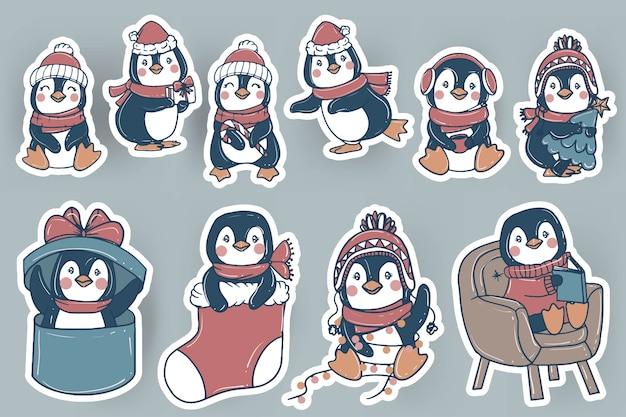 Śliczne świąteczne naklejki pingwina doodle ręcznie rysowane ilustracji