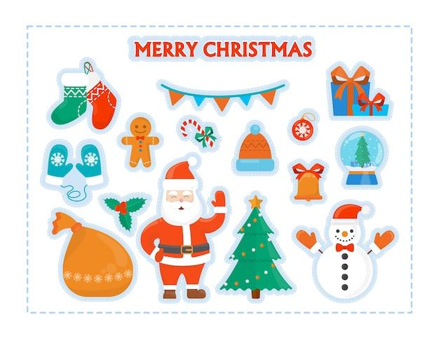 Śliczne świąteczne rzeczy do zestawu dekoracji. kolekcja symbolu bożego narodzenia z drzewem i bałwanem, mikołajem i rękawiczką do druku. ilustracja na białym tle płaski wektor