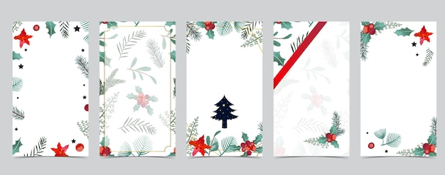 Śliczne świąteczne tło dla mediów społecznościowych z drzewem, ostrokrzewem, wstążką