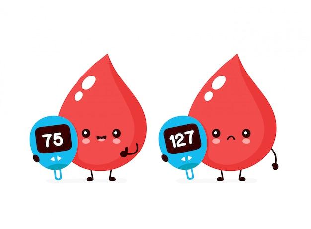 Śliczne szczęśliwe i smutne krople krwi z przyrządem do pomiaru glukozy