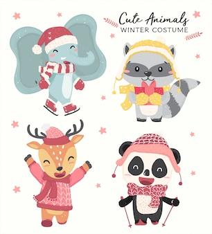 Śliczne szczęśliwe pastelowe dzikie zwierzęta w zima kostiumowego tematu inkasowym płaskim wektorze