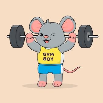 Śliczne szczęśliwe podnoszenie myszy
