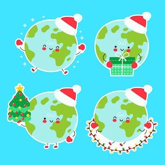 Śliczne szczęśliwe śmieszne boże narodzenie planeta ziemi. postać z kreskówki ręcznie rysowane styl ilustracji. boże narodzenie, nowy rok koncepcja