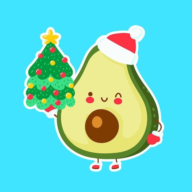 Śliczne szczęśliwe śmieszne świąteczne awokado