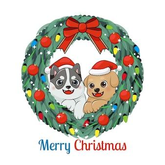 Śliczne szczęśliwe szczenięta w boże narodzenie wieniec. dekoracja świąteczna