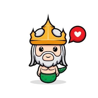 Śliczne szczęśliwe uczucie neptuna, maskotka króla oceanu