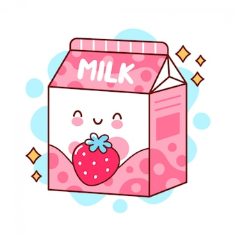 Śliczne szczęśliwe zabawne smakowe mleko truskawkowe. płaska linia ikona ilustracja kreskówka kawaii postać.