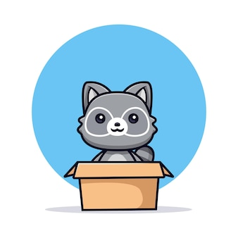 Śliczne szopy pracze wewnątrz pudełka wektor ilustracja postaci zwierząt