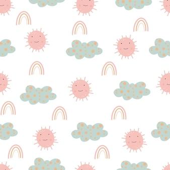 Śliczne szwu ze słońcem i chmurami wyciągnąć rękę dziecinna bezszwowe wzornictwo papier cyfrowy.