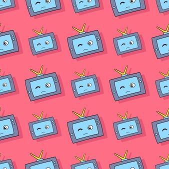 Śliczne telewizji elektronicznej bezszwowe powtarzać wzór. tło wektor ilustracja.