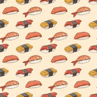 Śliczne tło bezszwowe tło z pyszną różnorodnością ręcznie rysowane sushi