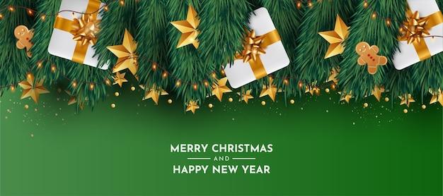 Śliczne tło boże narodzenie z realistycznymi dekoracjami świątecznymi