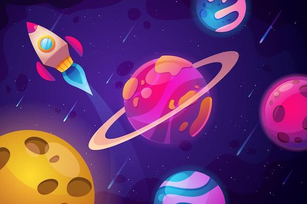Śliczne tło przestrzeni kreskówki z kolorową planetą