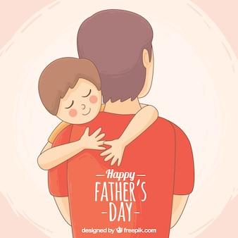 Śliczne tło przytulając syna ojcu