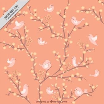Śliczne tło wiosna z różowymi ptaków