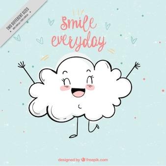 Śliczne tło z uśmiechem chmurze