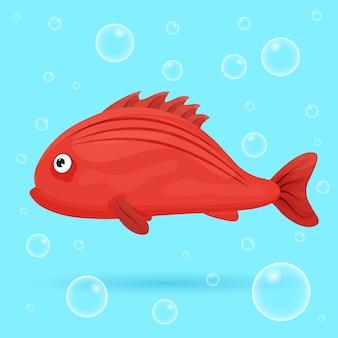 Śliczne tropikalne ryby na niebieskim tle z bąbelkami. jaskrawe ryby oceaniczne. podwodne życie morskie. ilustracja.