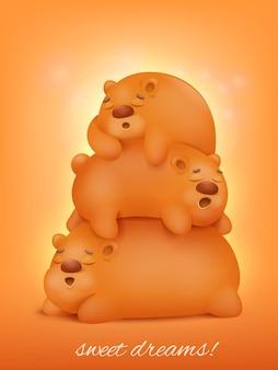 Śliczne trzy śpiące zwierzęta z kreskówek kawaii.