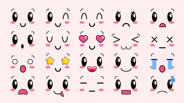 Śliczne twarze kawaii. oczy i usta w stylu manga. śmieszne kreskówka japoński emotikon w różnych wyrażeniach. dla sieci społecznościowych. wyrażenie postać z anime i emotikon twarz ilustracja. eps