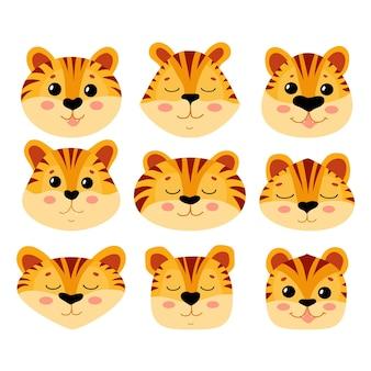 Śliczne twarze tygrysich młodych o różnych kształtach. dzikie zwierzęta. puszyste kocięta rude.